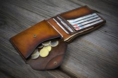 Mens Wallet with Coin Pocket. Handmade Italian Leather Wallet for men. Coin…