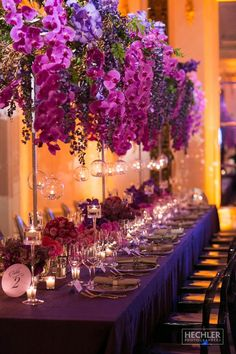 Luxury all purple wedding reception centerpiece inspiration; Featured Photographer: Hechler Photographers