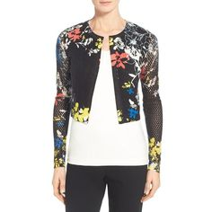 Elie Tahari 'Bella' Floral Print Cashmere Crop Cardigan ($368) ❤ liked on Polyvore featuring tops, cardigans, black, black cashmere cardigan, black cropped cardigan, long sleeve cropped cardigan, black crop top and floral cardigan