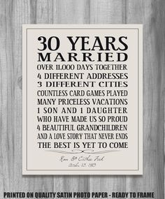 Personalized Anniversary Gift Our Story Time by PrintsbyChristine, $20.00 30th Wedding Anniversary, Anniversary Ideas