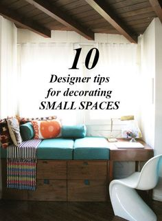 Yes: embrace your small space and make the most of it! Here are 10 designer tips for decorating small spaces. Small Space Living, Living Spaces, Small Dorm, Living Room, Home Design, Interior Design, Casa Loft, Diy Home Decor, Room Decor