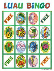 Free printable Luau Bingo for the Baby Luau