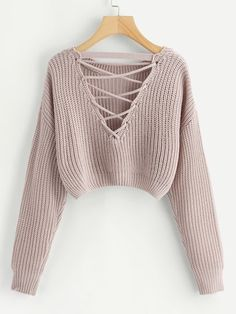 Shop Lace-Up V Back Crop Jumper online. SheIn offers Lace-Up V Back Crop Jumper & more to fit your fashionable needs. Chunky Knit Jumper, Cropped Knit Sweater, Pink Sweater, Cropped Jumpers, Cute Jumpers, Long Cardigan, Girls Fashion Clothes, Teen Fashion Outfits, Cute Comfy Outfits