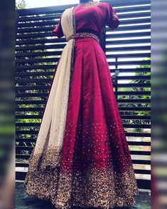 Wine Red raw silk Lehenga Set with pure zardosi and zari thread, be_you designer boutique, Whatsapp no 9496706971 Indian Fashion Dresses, Indian Gowns Dresses, Dress Indian Style, Indian Designer Outfits, Indian Wear, Indian Wedding Gowns, Indian Bridal Outfits, Wedding Dress, Long Gown Dress