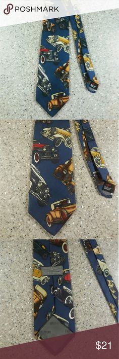 Vintage Classic Car Tie Going to a Classic Car Show and want to look a bit Spiffy? Rock this Tie! Robert Talbott Nordstrom Neck Tie. Navy Background with Classic Cars Perfect Gift for Classic Car Enthusiasts!  NWOT Vintage  Accessories Ties