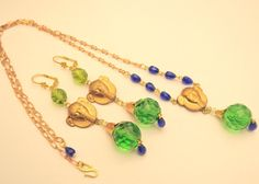 Vintage Raw Brass Set Necklace Czech Egyptian Revival Green Glass Handmade OOaK  #handmade
