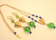 Vintage Raw Brass Set Necklace Czech Egyptian Revival Green Glass Handmade OOaK  #handmade