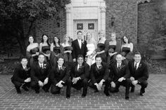 Bridal party, groomsmen pose