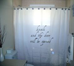 SHOWER CURTAIN bible verse Knock & Door Will Be Opened