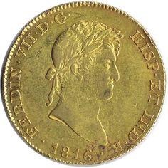Moneda de oro 8 escudos Fernando VII 1816 Madrid CJ.
