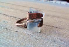 Blur Seaglass Organic Copper Ring by JennieVargasJewelry on Etsy,
