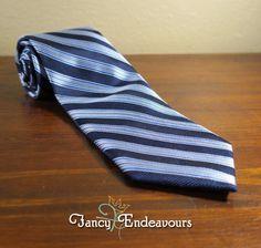 Robert Talbott Best of Class Navy Blue Diagonal Stripe Silk Necktie Tie #RobertTalbott #Tie