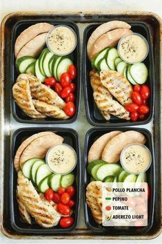Pita, cucumbers, grape tomatoes, chicken and dressing