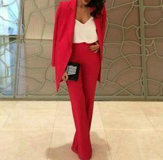 Jumpsuit red suit classy smart fashion blazer pants suit pants blouse women - Women Dresses for Every Age! Pink Suit, Red Suit, Classy Outfits, Chic Outfits, Fashion Outfits, Day Outfits, Fashion Styles, Fashion News, Women's Fashion