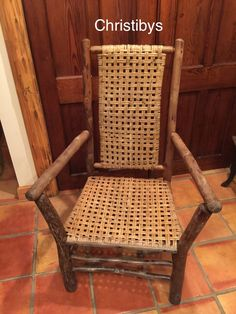 Old Hickory signed X large high back arm chair skip weave rattan weave. SOLD, Christibys