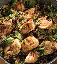 A zesty maple Dijon sauce tops this protein-packed skillet meal thats loaded with good-for-you kale and studded with cranberries for a pop of tart-sweetness. Dijon Chicken & Quinoa Skillet with Baby Kale & Cranberries INGREDIENTS: 5 tsp olive oil divided 1 lb boneless skinless chicken breasts cut into 2-inch pieces 1/4 plus 1/8 tsp sea salt divided 1/2 tsp ground black pepper 1 cup quinoa rinsed 5 oz baby kale (about 5 packed cups) 3 tbsp Dijon mustard 2 tbsp pure maple syrup 1 tbsp fresh…