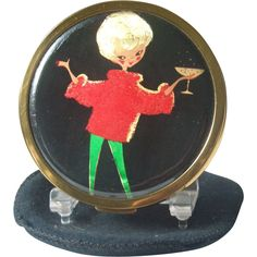 Vintage Mascot ASB Lady with Cocktail Foiled Powder Compact from cindy-cristina on Ruby Lane..