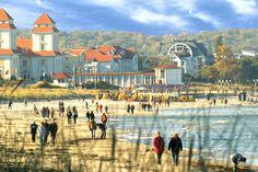 Spazieren am Strand von Binz bei Wind und Wetter.