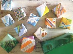 cajitas con papel reutilizado