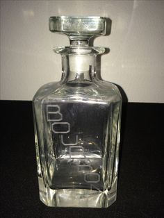Etched Bourbon Clear Glass Decanter B37/L3