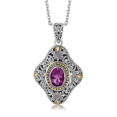 Yellow Gold and Sterling Silver Vintage Style Pendant with Oval Amethyst Baroque Fashion, Vintage Fashion, Vintage Style, Bali Jewelry, Diamond Pendant, Round Diamonds, Amethyst, Pendant Necklace, Sterling Silver