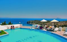 Mistral Mare Hotel in Istron, Lasithi. Located on the hillside of Kalo Chorio, a beautiful Cretan Village, 300 meters from the famous Golden Beach. Gorgeous views of the Mirabello Gulf, nice rooms and All Inclusive are provided.