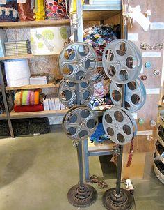 Vintage movie reel floor lamp