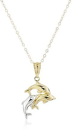Jewels By Lux 14K Yellow Gold Cape May with Double Jumping Dolphins Pendant