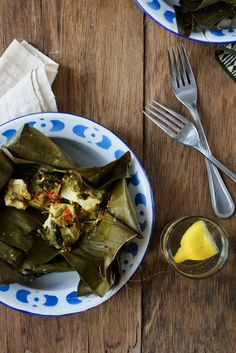 Botok Tahu / Javanese style spiced and spicy tofu wrapped in banana leaf. - Traditional Food of Indonesia.