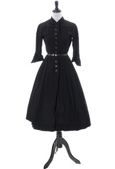 Dressing Vintage - Charles Cooper 1950s vintage dress with red trim and full skirt, $225.00 (http://dressingvintage.com/charles-cooper-1950s-vintage-dress-with-red-trim-and-full-skirt/)