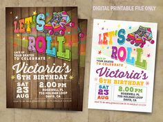 Roller Skate Birthday Party Roller Skating Invitation Roller