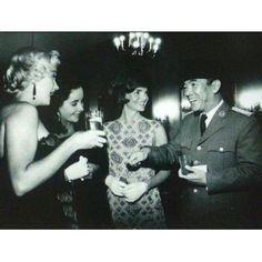 Former President Soekarno with Jackie Kennedy, Elizabeth Taylor and Marilyn Monroe.