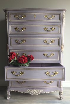 French Provincial dresser painted with Annie Sloan Chalk Paint in Emile, Old White & Old Violet with a layering technique to give it depth and dimension. I added a flower embellishment on each side of the dresser and added gold gilding wax. ~ $945 by RelovedHomeDesigns on Etsy https://www.etsy.com/listing/266038497/reloved-refurbished-french-provincial