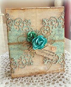 Great scrapbook-style gift wrap idea. Of course, no one wants to open the package when it's too pretty! ;)