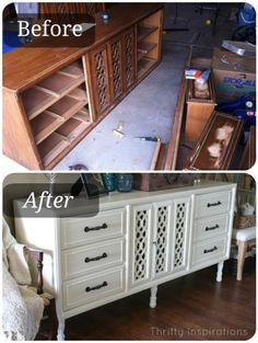 DIY Furniture : DIY Thrift Dresser {Now A Fancy Sideboard}