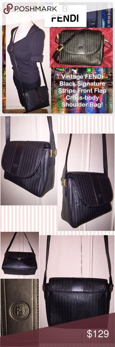 """Vtg FENDI Signature Stripe Flap Cross-body Bag! Vintage FENDI Black Signature Stripe Front Flap Cross-body Shoulder Bag! Features:100% authentic, black Fendi signature stripe design, front flap with snap closure, gold tone FENDI zippers & hw, one int zip pocket, FENDI Made in Italy plate & serial no. on inside, black leather interior & strap. Measures 7 1/2"""" across X 7"""" high X 3"""" wide with 23"""" body clearance. No rips, tears or peeling. EX condition. Offers Welcomed! Fendi Bags"""