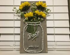 Mason Jar and Flowers String Art by MandasPandemonium on Etsy