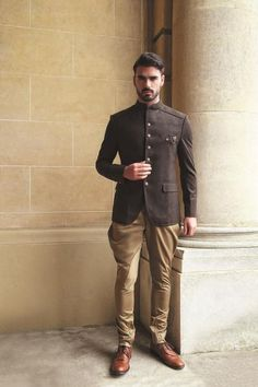 Design 7930 Men's black suede Jodhpuri with gold jodhpurs. Shoes not included. Availability may vary, depending on the size. weeks time frame for all Custom order completion. Mens Wedding Wear Indian, Mens Indian Wear, Wedding Dresses Men Indian, Mens Ethnic Wear, Indian Groom Wear, Wedding Dress Men, Indian Men Fashion, Mens Fashion Suits, Wedding Men