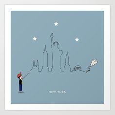 New York Skyline Kite Boy Art Print by keindesign Boy Art, From The Ground Up, Buy Frames, Kite, Travel Posters, Printing Process, Nursery Decor, New York Skyline, Gallery Wall