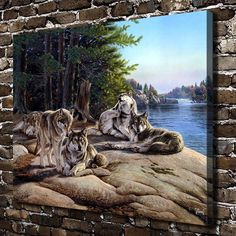 $1.99 - Wolf Pack Animal Paintings Hd Print On Canvas Home Decor Wall Art Picture #ebay #Home & Garden