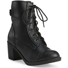 Aeropostale Go Jane Combat Boot (44 CAD) ❤ liked on Polyvore featuring shoes, boots, ankle booties, black, black combat boots, lace up high heel boots, black high heel booties, black high heel boots and lace up high heel booties