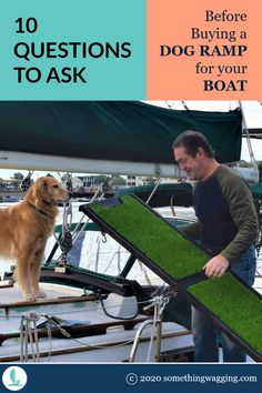 Folding ramp? Telescoping ramp? Sandpaper surface? Which is the best dog ramp for your boat? Ask these 10 questions to choose the right one. Dog Boat Ramp, Pet Ramp, Sailboat Living, Living On A Boat, Dogs On Boats, Buy A Dog, Best Boats, Kinds Of Dogs, Sandpaper