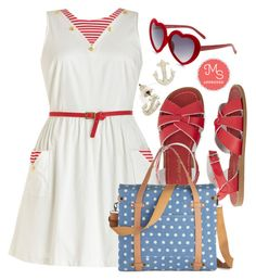 """I'm On a Paddle Boat Dress"" by modcloth ❤ liked on Polyvore featuring Salt Water Sandals"