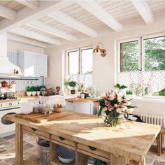 Earthy Kitchen, Boho Kitchen, Rustic Kitchen, New Kitchen, Kitchen Decor, Kitchen Ideas, Vintage Kitchen, Country Farmhouse Kitchen, Cottage Kitchen Inspiration
