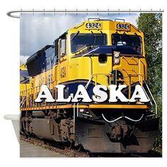 Alaska Railroad engine locomotive 2 Shower Curtain on CafePress.com Alaska  Railroad 20ea6ad03334
