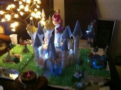 Disney Princess Castle Cake with lights