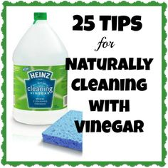 ❤ 25 Tips For Naturally Cleaning With Vinegar | I am in love with so many of these!–.really versatile stuff, just what I was looking for!  ❤#vinegar, #diy, #cleaning