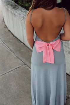 Striped Deep Scope Back Bow Detail Maxi | UOIonline.com: Women's Clothing Boutique