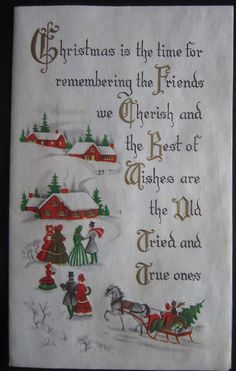 Vintage Christmas Greeting Card Friends and Best Wishes Village