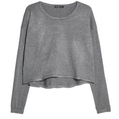 Cropped Sweater (650 RUB) ❤ liked on Polyvore featuring tops, sweaters, shirts, clothes - tops, long sleeve crop sweater, long sleeve sweater, round neck sweater, cropped sweater and long sleeve tops